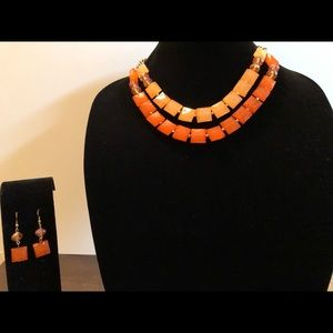 Jewelry - Orange Necklace with matching earrings